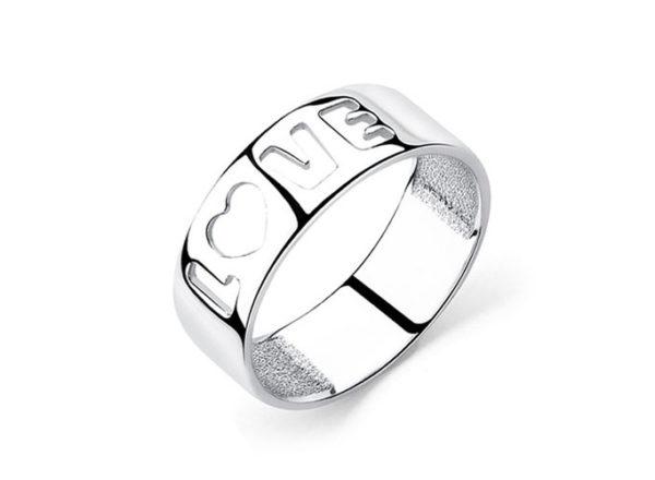 Кольцо Love серебряное широкое без вставок (камней)
