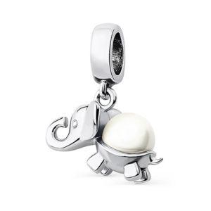 Подвеска-шарм жемчужный слоник на счастье серебро